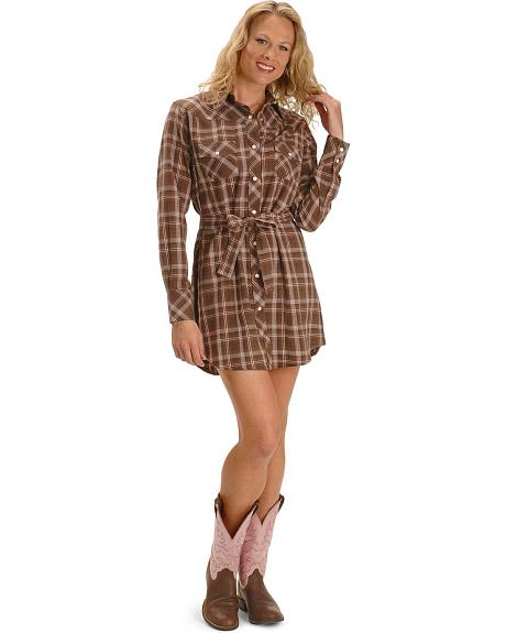 Exclusive Gibson Trading Brown Plaid Flannel Shirt Dress