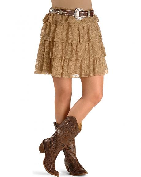 RU Cowgirl Going Brazil Tiered Lace Skirt