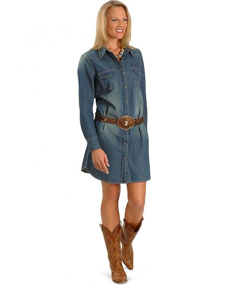 Red Ranch Western Denim Dress