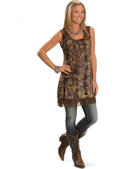 Rancho Estancia Crushed Velvet and Lace Tunic