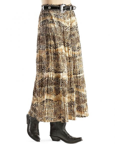 Red Ranch Animal Print Long Skirt