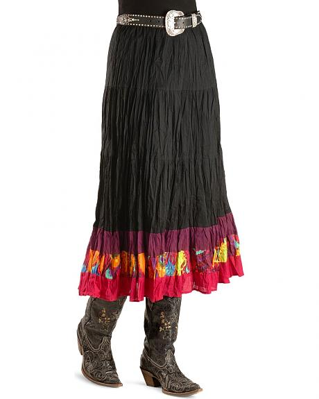 Red Ranch Multi-Colored Border Hem Crinkle Skirt