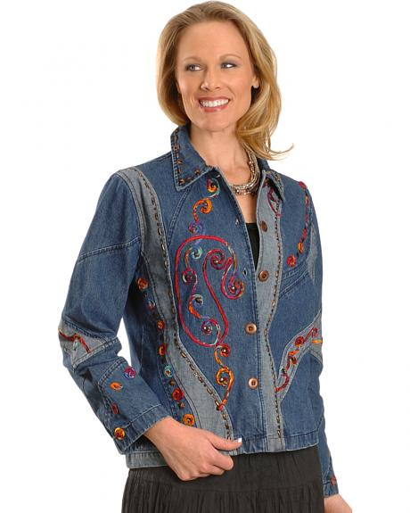 Red Ranch Women's Colorful Ribbon Overlay Denim Jacket