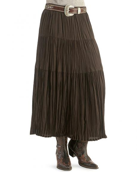 Red Ranch Solid Broomstick Skirt