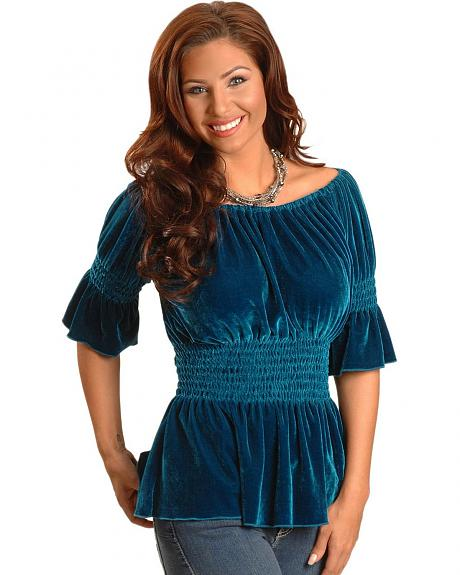 Rancho Estancia Blue Faux Velvet Peasant Blouse