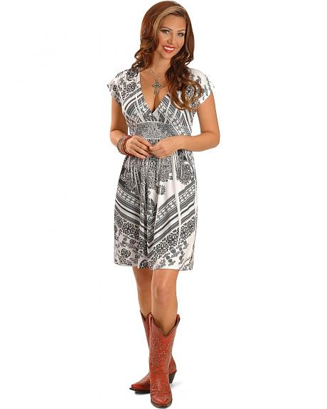 Panhandle Slim Black & White Sublimation Print V-Neck Dress