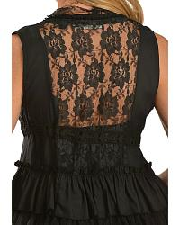 Rancho Estancia Boho Chic Black Tiered Lace Vest at Sheplers