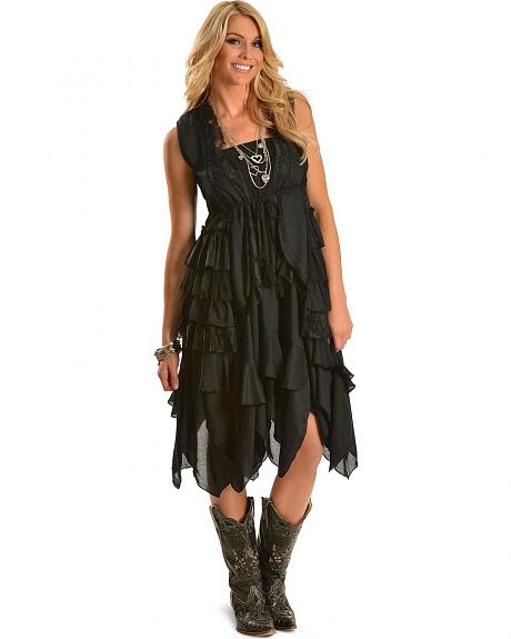 Rancho Estancia Boho Chic Black Tiered Lace Vest