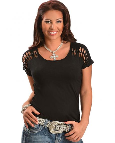 Rancho Estancia Knotted with Beads Short Sleeve Top