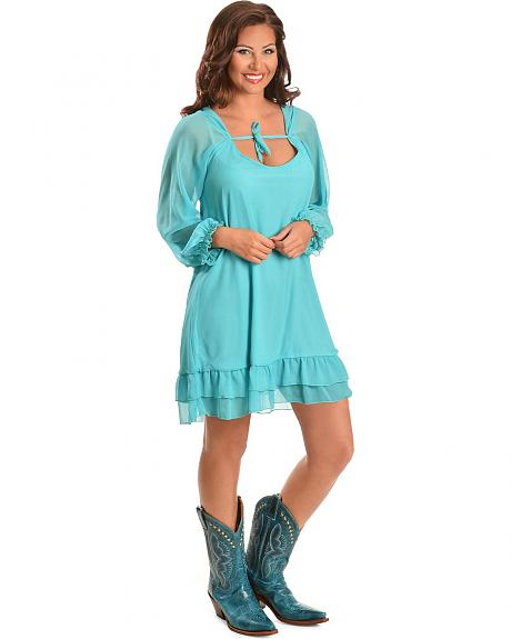 Rancho Estancia Aqua Chiffon Tunic Dress