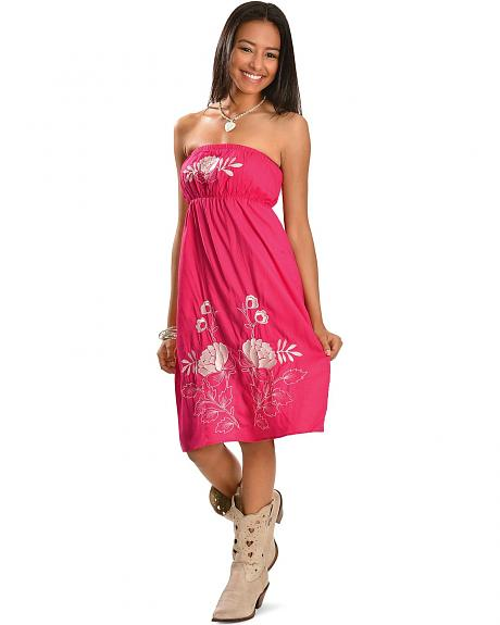 RU Cowgirl Moroccan Floral Embroidered Tube Top Dress