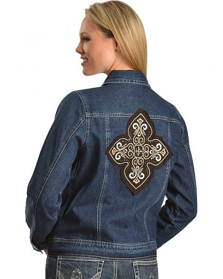 Red Ranch Studded Cross Applique Denim Jacket