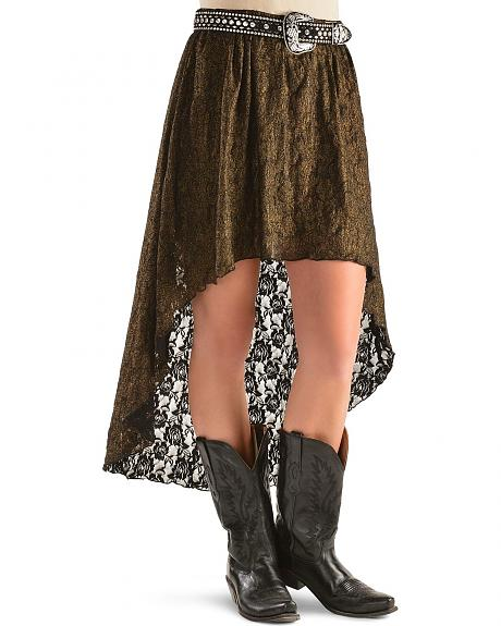 Red Ranch All Over Lace High Low Skirt