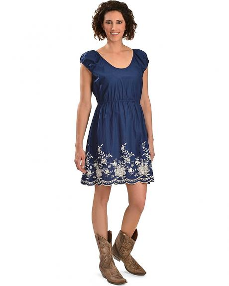 Red Ranch Floral Embroidered Peasant Style Dress