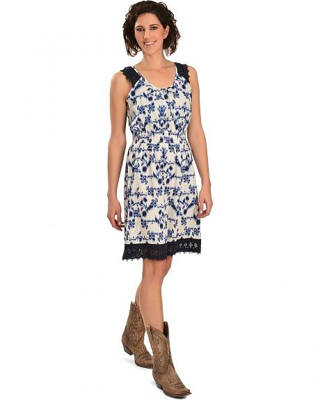 Red Ranch Crocheted Lace Inlay Dress