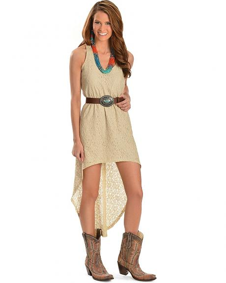 Red Ranch High-Low Sand Lace Dress