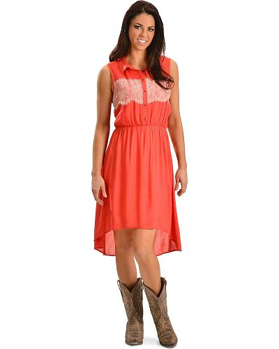 Red Ranch High-Low Lace Sleeveless Dress Western & Country 0532 CAYENNE