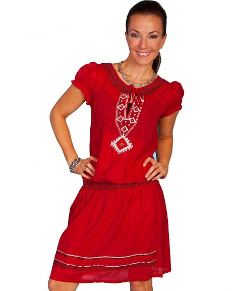 Scully Southwest Embroidered Red Dress