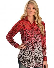 Cowgirl Justice Rojo Cheetah Print Dip Dyed Blouse