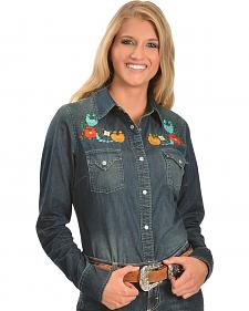 Cowgirl Justice Mexia Embroidered Denim Shirt