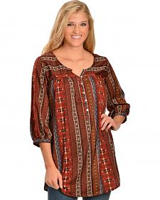 R Cincho Ranch Outtake Printed Henley Tunic