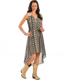 Red Ranch Black and White Aztec Print Sleeveless Dress