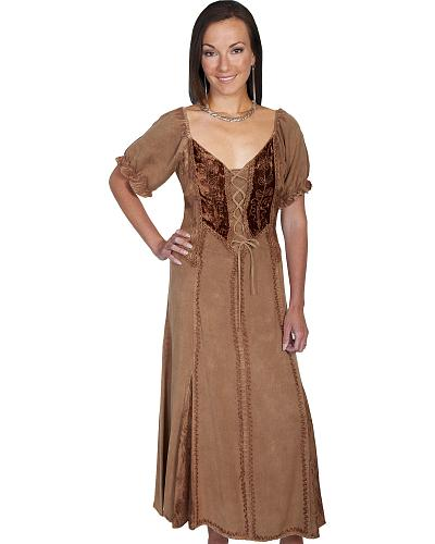 Scully Woment Velvet Lace-Front Dress Western & Country HC157-DEN