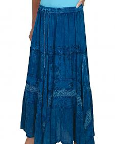 Scully Women's Embroidered Denim Maxi Skirt