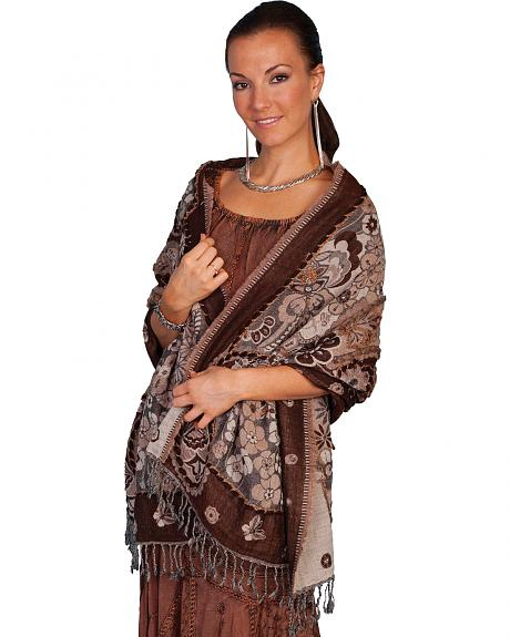 Scully Women's Floral Wool Wrap Shawl