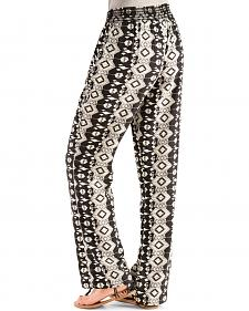 4 What It's Worth Women's Black & White Printed Palazzo Pants