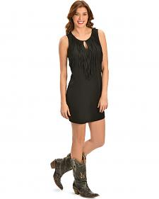 Cowgirl Justice Women's Black Fringe Keyhole Dress
