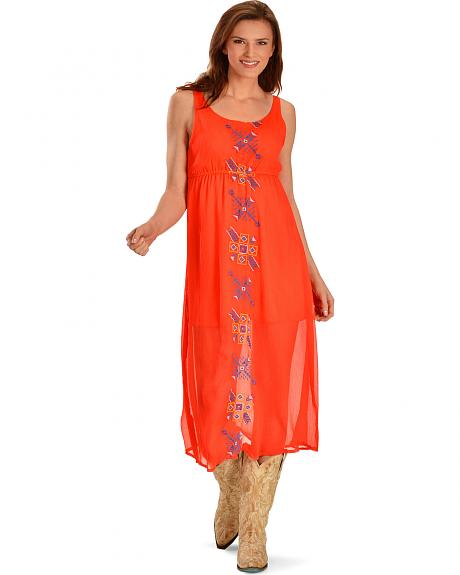 R Cinco Ranch My Way Orange Maxi Dress