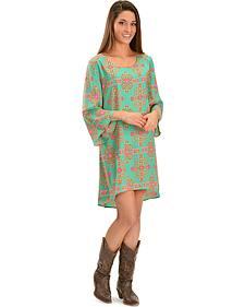 Wrangler Women's Turquoise Aztec High-Low Dress