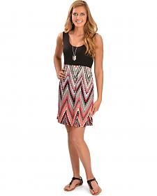 Wrangler Sleevless Solid Top with Printed Skirt Dress