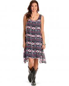 Wrangler Women's Sleeveless Draped Hem Aztec Dress