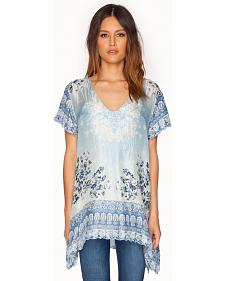 Johnny Was Women's Blue Silk Pepin Tunic