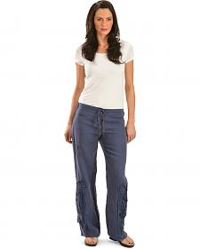 Johnny Was Women's Blue Linen Crochet Pants