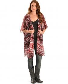 Baccini Women's Sheer Red & Black Ikat Kimono