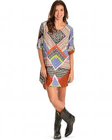 Red Ranch Women's Printed Roll-Cuff Dress