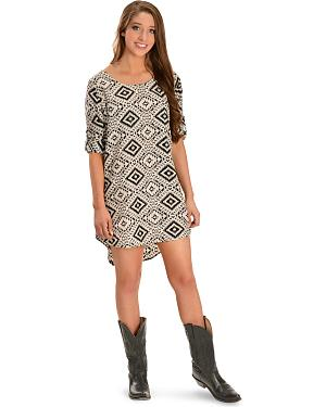 Red Ranch Black and Natural Pebble Print Dress