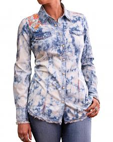 Ryan Michael Women's Embroidered Tie Dye Shirt