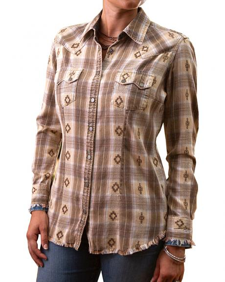 Ryan Michael Women's Vintage Dobby Plaid Shirt