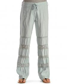 Johnny Was Women's Crochet Insert Linen Pants