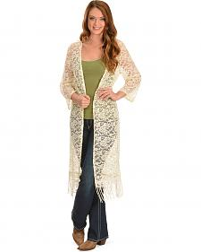 Young Essence Women's Cream Lace Long Cardigan