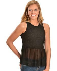 Young Essence Women's Black Lace Peplum Sleeveless Top