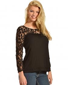 Young Essence Women's Blue Lace Long Sleeve Top