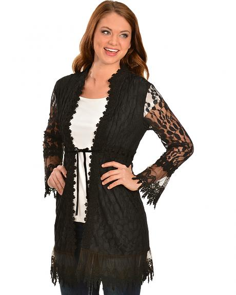 Young Essence Women's Black Crocheted Lace Cardigan