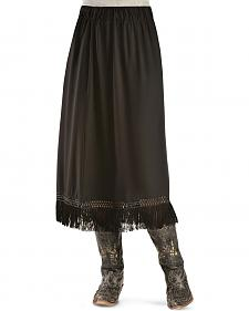 Red Ranch Women's Black Fringe Long Skirt