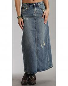 Stetson Distressed Denim Long Skirt