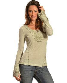 Black Swan Women's Lace-Trim Long Sleeve Top
